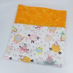 Pillowcase in Knitting Sheep and Orange Fabrics