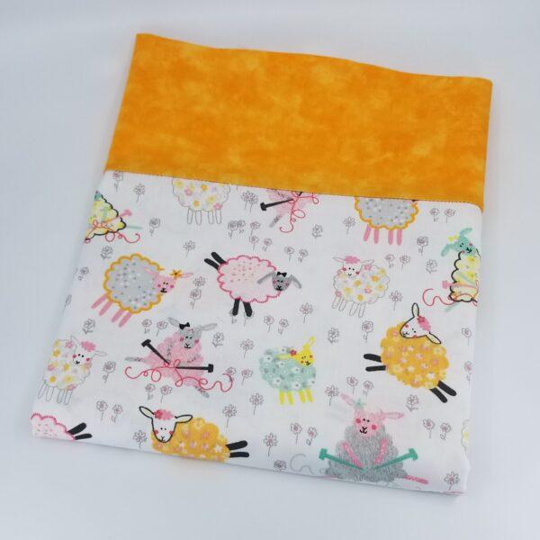 Pillowcase in Knitting Sheep and Orange Fabrics