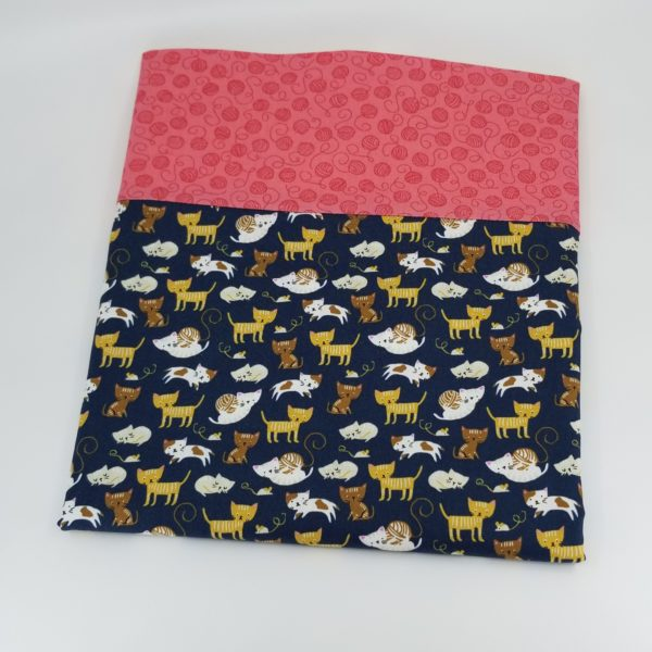 Handmade 100% cotton pillowcase cats on navy blue with pink pattern border