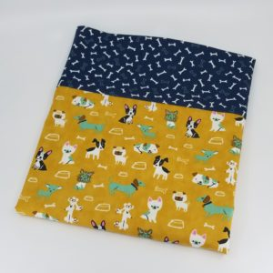 Dog lovers pillowcase with background of yellow and border of dog bones