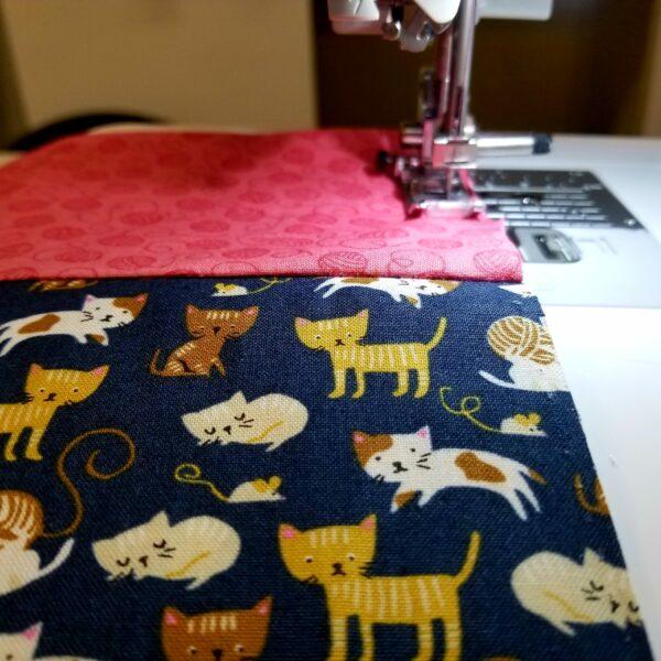 Cats on navy blue pillowcase