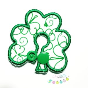 Feeding / G-Tube Cover Shaped Like Shamrock, White with Green Pattern and Accents