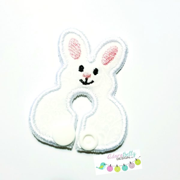 Feeding / G-Tube Cover Shaped Like Bunny, White with Pink Accents