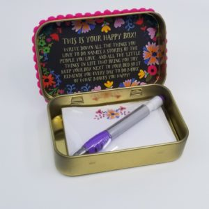 Happy Tin with Note Paper and Pen