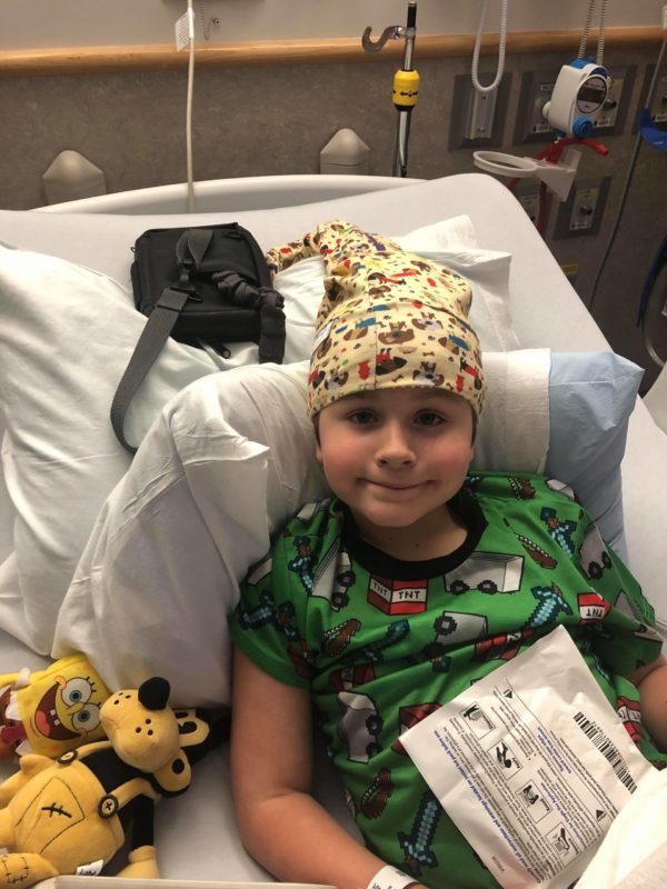 After receiving his Hannahtopia NillyNoggin EEG Cap