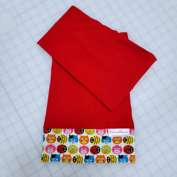 Red and Circle Shapes of Pigs, Cats, Cows, Bumble Bees and Lady Bugs NillyNoggin EEG Cap folded