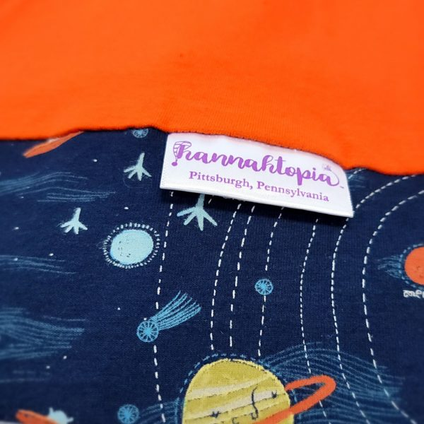 Orange NillyNoggin EEG Cap with Navy Planets and Solar System design showing close up