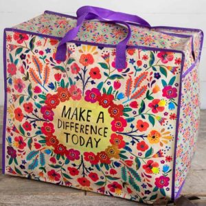 Make A Difference Today Extra Large Zipper Tote with Purple Handles